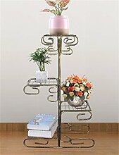 YANZHEN European-Stil Eisen Four-Tier-Boden Blumentopf Regal, Pflanzen stehen, Blumen-Rack für Balkon, Indoor, Wohnzimmer Pflanzentreppe ( Farbe : D )