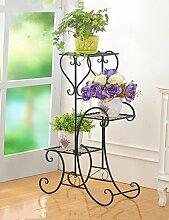YANZHEN Iron Flower Rack Indoor und Outdoor Balkon Europäische Multi - Storey Blumentöpfe Blumen Regal Hanging Orchideen Pflanzentreppe ( Farbe : A , größe : 49*80.5cm )