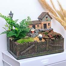 YANZHEN Kreative pastorale Mikro - Landschaft Pflanze Blumentöpfe Office Desktop Green Pflanze Topfpflanze Bonsai Topfpflanze Heimtextilien ( Farbe : B )