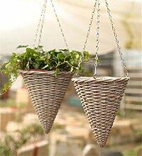 YANZHEN Kreativer Hirten-Weide-Strick-Hänge-Korb Wand-Blumentöpfe Pure Hand-Hausdekoration ( Farbe : A-2 piece )