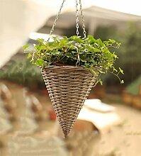 YANZHEN Kreativer Hirten-Weide-Strick-Hänge-Korb Wand-Blumentöpfe Pure Hand-Hausdekoration ( Farbe : A-1 piece )