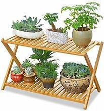 YANZHEN Massivholz 2-tier Boden Blumentopf Regal, Pflanzen stehen, Blumenregal für Indoor, Balkon, Wohnzimmer Pflanzentreppe