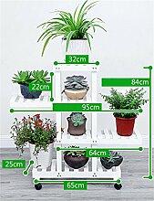 YANZHEN Massivholz Blumenregal Pflanzer Stand Flower Pot Regal Wohnzimmer Balkon Blumentopf Rack Weiß Braun Pflanzentreppe ( Farbe : Weiß , größe : 84cm )