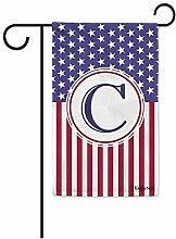 Yard Flags,Us Flag Dekorative Monogramm C Garten
