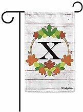 Yard Flags,Willkommen Herbst Kranz Monogramm X