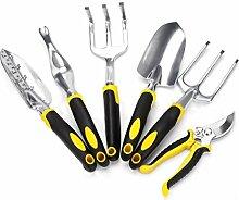 Yardsky Garten Werkzeuge Set für Gartenarbeit Multifunktion 6 in 1 Gartengeräte Set 6-teilig Gartenschere, Gabel, Blitzschuh, Maurerkelle, Gartenschaufel, Handkelle (6, Gelb)
