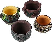 Yardwe 4Pcs Keramik Sukkulenten Pflanzer Topf