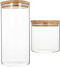YARNOW 2Pcs Glas mit Holz Deckel Luftdicht Gewürz