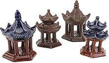 YARNOW 4Pcs Miniatur Pagode Statue Keramik Pagode