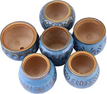 YARNOW 6Pcs Keramik Sukkulenten Töpfe Blau Kaktus