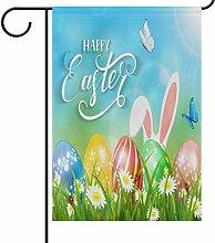 YATELI Garden Yard Flag Ostern mit Ohren von Hasen