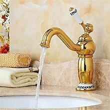 YAWEDA Gold überzogene einzelne Loch-Waschbecken