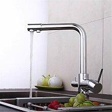 YAWEDA Küchenarmatur Chrom-3-Wege-Hahn