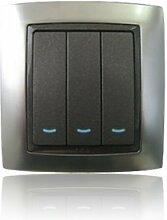YAZ moderne LED Chrom Surround Black Light Switch 3 Gang 1-Weg