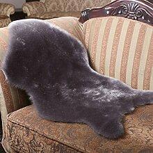 Yazi grau Schaffell Teppich Webpelz mit einzelnes Wolle Matte 60x 90cm