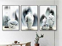 YB Chinesische Tusche Vase Wand Kunstdruck Bild