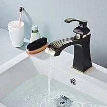 YCEOT Waschbecken Wasserhahn Schwarz Messing