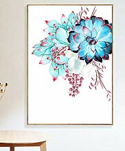 ycmjh Blaues Blumenbild-Leinwandplakat, dekoriert