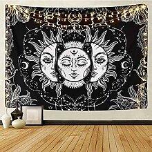 YCRY wandteppich Wand aufhängen,Black Sun Moon