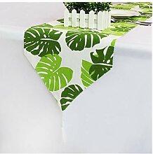 YCSC Moderne Tischläufer grüne Blätter gedruckt