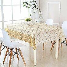 YCTZ PVC-Tischdecke mit goldfarbenem Raster,