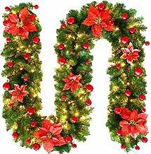 YEAHIBABY 2,7 Meter Weihnachtsgirlande mit LED