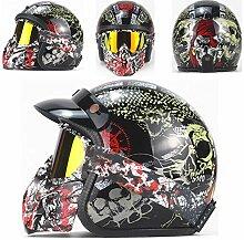 Yedina Retro Harley Motorradhelm Jethelm 3/4
