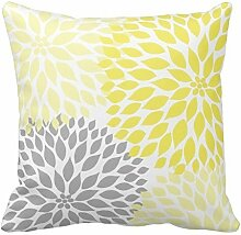 Yellow and Gray Dahlia Flowers Pillow 18