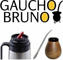 Yerba Mate- Keramik- Becher , Bombilla und Flask Gaucho Bruno mit Präzisions- Ausgusstülle