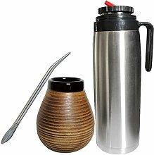 Yerba Mate- Keramik- Becher, Bombilla und Flask