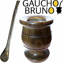 Yerba Mate Starter Kit Extra Thick Palo Santo Wooden Mate Cup with Bombilla by Gaucho Bruno