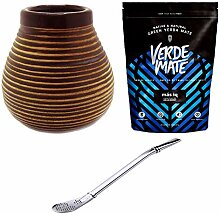 Yerba Mate Tee Set ♦ Keramik Mate Becher braun