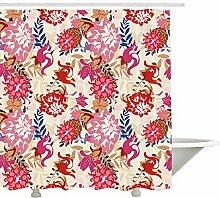 Yeuss Floral Duschvorhang, Bunte Vintage-Design