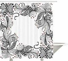 Yeuss Vintage Duschvorhang, Monochrome Blätter