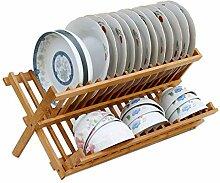 YEXIN 2 Tier Folding Dish Rack Abflussregal Bambus