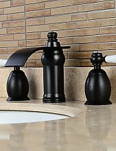 YFF@ 3-Loch-Armatur Zwei Griffe Drei Löcher in Bronze mit Ölschliff Waschbecken Wasserhahn