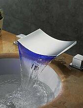 YFF@ 3-Loch-Armatur Zwei Griffe Drei Löcher in Chrom Waschbecken Wasserhahn