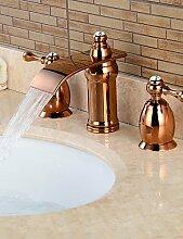 YFF@ 3-Loch-Armatur Zwei Griffe Drei Löcher in Rotgold Waschbecken Wasserhahn