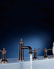 YFF@ Antik 3-Loch-Armatur Mit ausziehbarer Brause with Keramisches Ventil Drei Griffe Fünf Löcher for Rotgold , Badewannenarmaturen , gloden