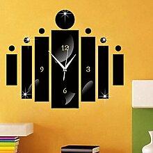 YFF@ILU Acryl 3D-DIY-Spiegel Aufkleber Wanduhren Neuheit Home DecorVintage Watch Wand für Wohnzimmer, Schwarz
