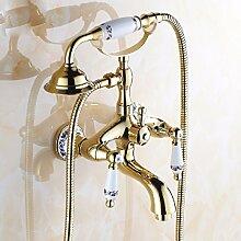 YFF@ILU Antike Badewanne Armatur im europäischen Stil mit Dusche mit Kopf, m Dusche