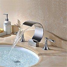 YFF@ILU Bad-Accessoires Zeitgenössischee Keramik Ventil Verchromt Wasserfall Waschraum mit Waschbecken Wasserhahn