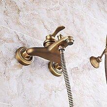 YFF@ILU Badezimmer Wand montiert Messing antik Badewanne Armatur mit Handbrause einstellen