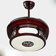 YFF@ILU Chinesischen stealth Lüfter LED-Lampe, Acryl Fernbedienung Ventilator Kronleuchter, D