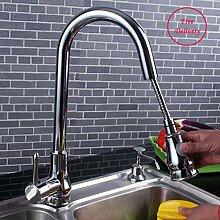 YFF@ILU Chrome nach unten ziehen, um die Feldspritze einzigen Griff Küche Waschbecken Armatur Armaturen Schwenken