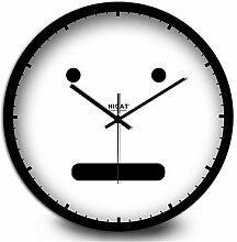 YFF@ILU Das schöne Gesicht des modernen dekorativen Bösewicht Heimtextilien Mute Quarz Wanduhr, 30 cm, schwarz