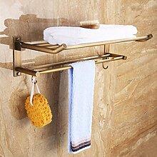YFF@ILU Die Bäder sind Rack in voller Kupfer falten Handtuchhalter, Euro-style Bad mit WC Haken Badezimmer Regal