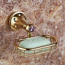 YFF@ILU Euro-style Kupfer diamond Runde Sanitärraum-accessoires Seife Seife Regal Halter , Golden