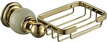 YFF@ILU Euro-style-stil Golden brass Sanitärraum-accessoires Seife Regal Seifenschale