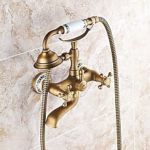 YFF@ILU Handdusche mit Keramik Ventil zwei Griffen zwei Bohrungen für Messing antik Wasserhahn, Dusche/Badewanne Armatur enthalten